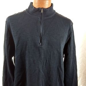 Pullover Navy Blue 1/4 Zip Casual Shirt XL